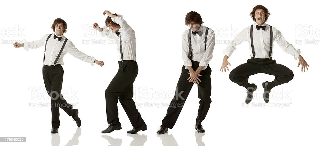 Multiple images of a man dancing stock photo