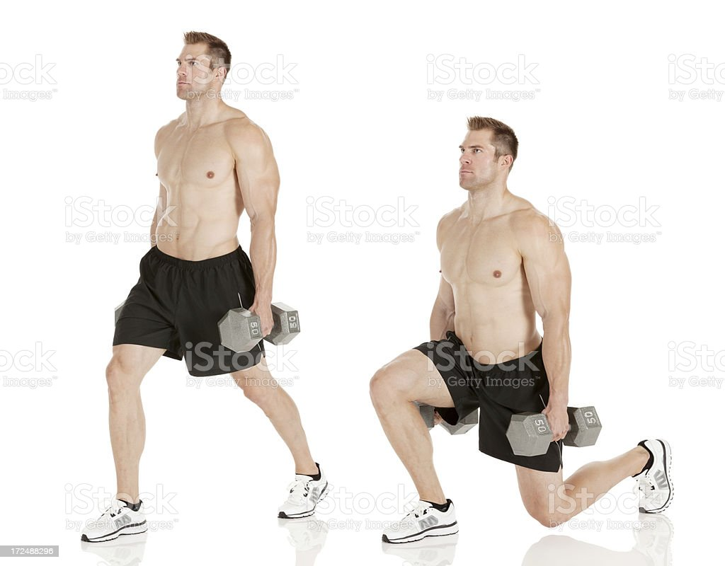 Multiple images of a man exercising with dumbbell royalty-free stock photo