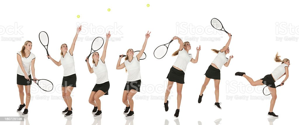 Multiple images of a tennis player in action stock photo