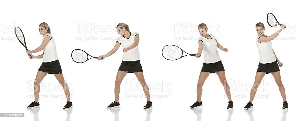 Multiple images of a woman playing tennis stock photo