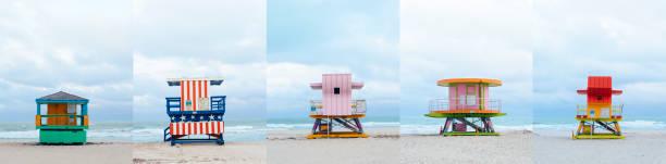 flera bilder av olika badvakt torn i miami beach - badvaktshytt bildbanksfoton och bilder