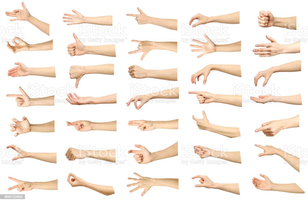 Multiple images set of female caucasian hand gestures isolated over white background. Part of series stock photo