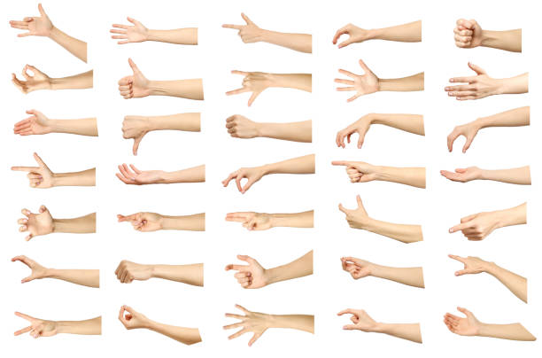 multiple images set of female caucasian hand gestures isolated over white background. part of series - finger point stock photos and pictures