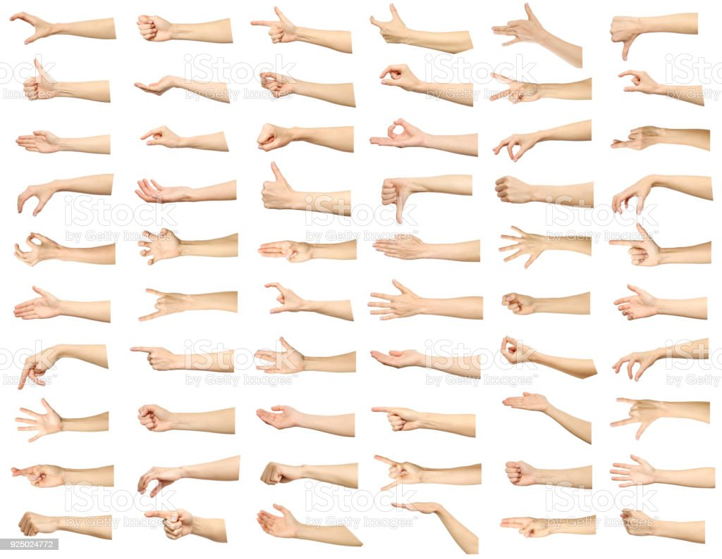 Multiple images set of female caucasian hand gestures isolated over white background stock photo