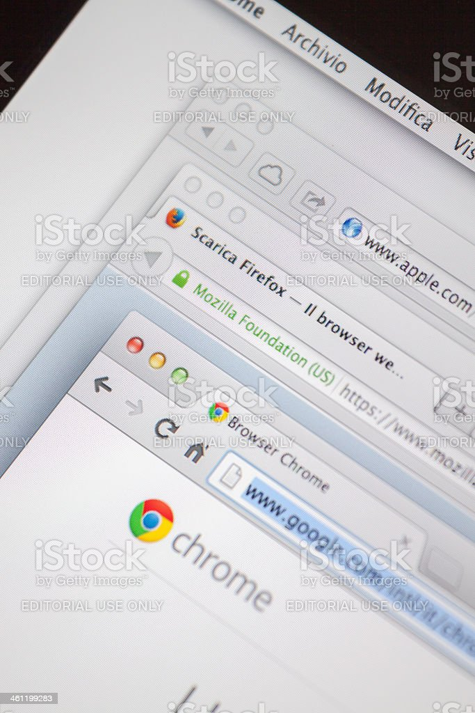 Multiple Internet Browser Welcome Web Pages stock photo
