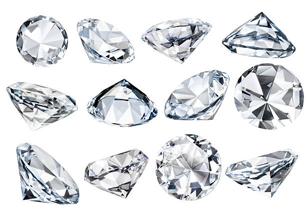 multiple isolated white faceted diamonds at various angles clipping path - smyckessten bildbanksfoton och bilder