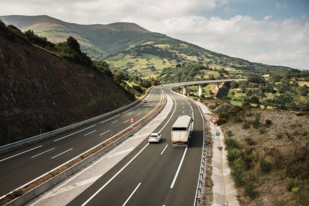 Multiple lane highway with curves stock photo