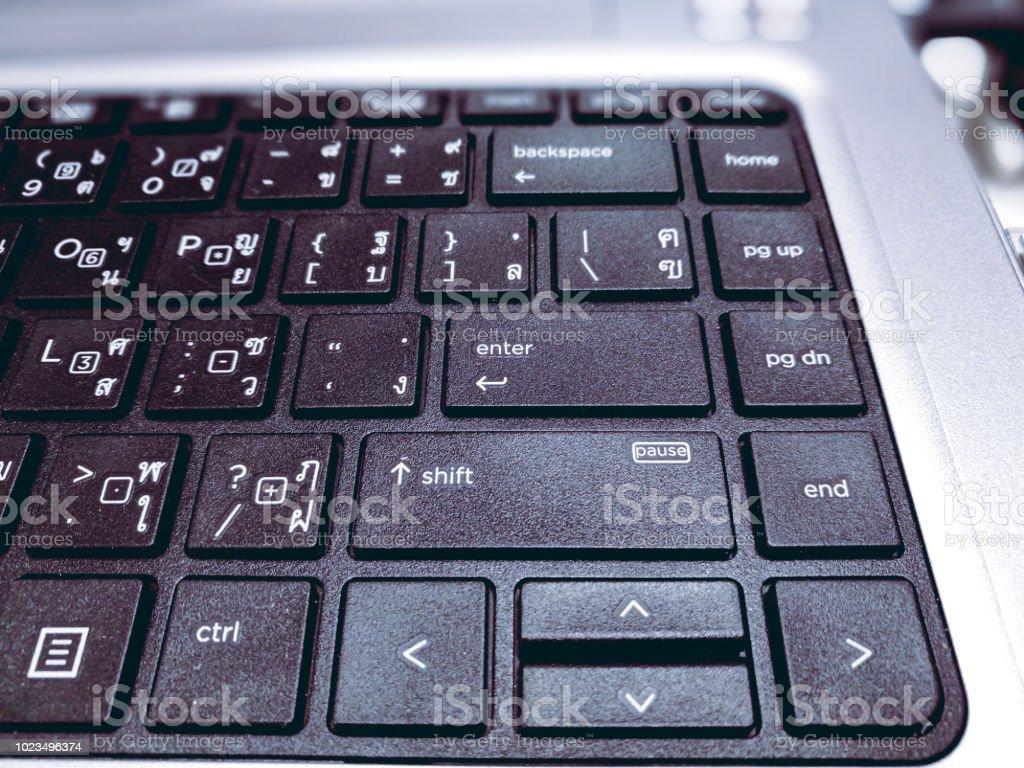 Multiple Language Keyboard Thai English Close Up And Select