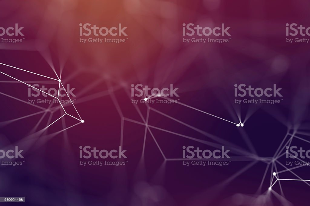Multiple lines connected by dots against a blury background bildbanksfoto