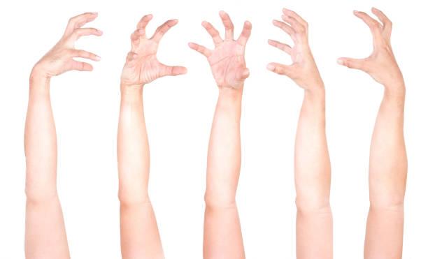 mehrere männliche kaukasische handgesten isoliert über dem weißen hintergrund, satz von mehreren bildern. zobies hand. - plants of zombies stock-fotos und bilder