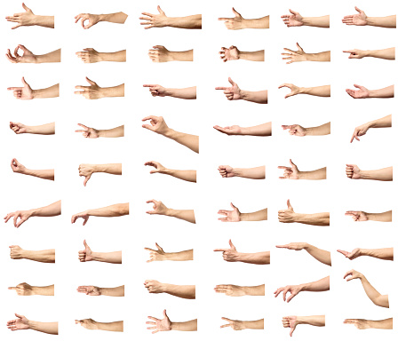 istock Multiple male caucasian hand gestures isolated over the white background, set of multiple images 688594662