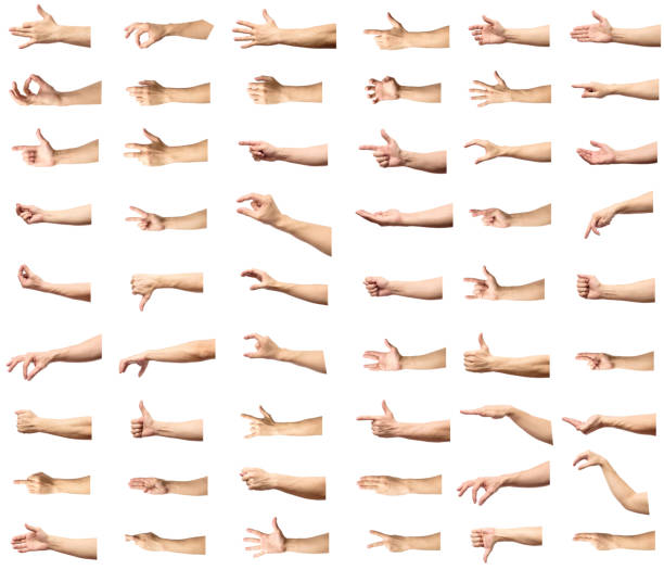 multiple male caucasian hand gestures isolated over the white background, set of multiple images - finger point stock photos and pictures