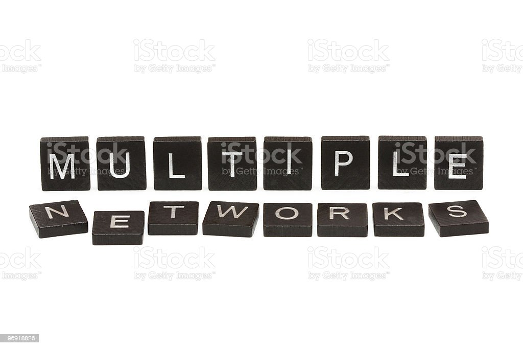 Multiple networks scrabble tiles royalty-free stock photo