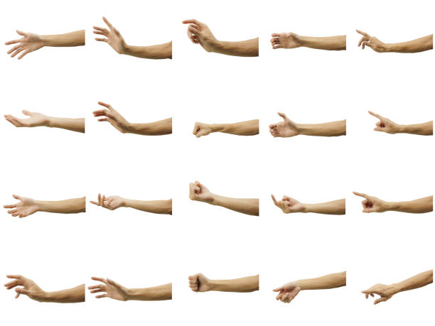 ein vielfaches der handbewegung des menschen, die auf weißem hintergrund isoliert ist. mit stift-tool vorsichtig ausschneiden und einen clipping-pfad einlegen. - gestikulieren stock-fotos und bilder