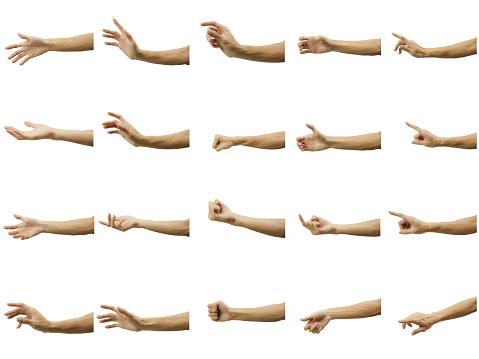 在白色背景上查出的多個人的手勢小心地通過筆工具裁剪 並插入剪裁路徑 照片檔及更多 一組物體 照片