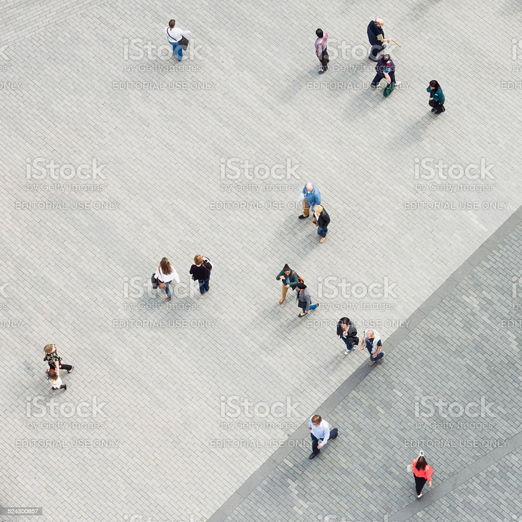 Multiple pedestrians from directly above stock photo