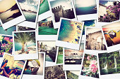 mosaic with pictures of different places and landscapes, shooted by myself, simulating a wall of snapshots uploaded to social networking services