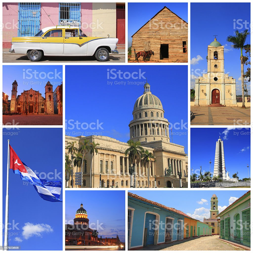 Multiple photos showing impressions of Cuba stock photo
