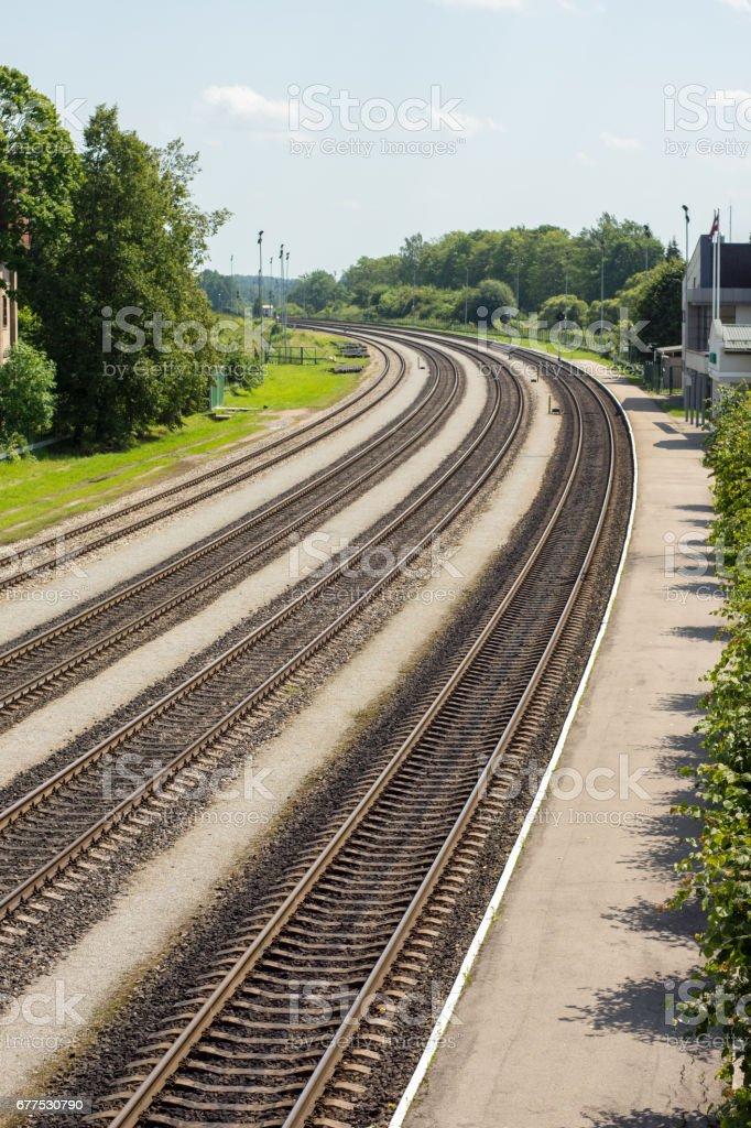 Multiple railway tracks stock photo