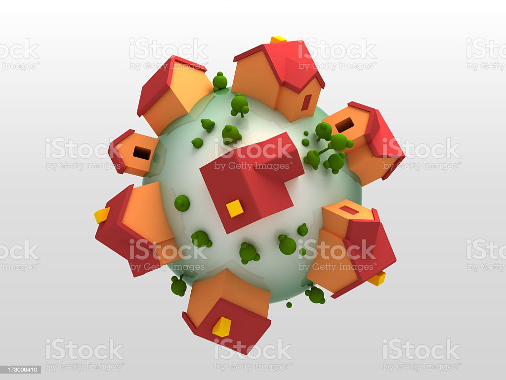 Multiple red and orange buildings on green sphere with trees stock photo