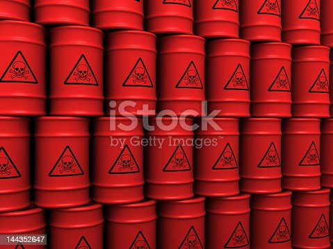 istock Multiple red toxic waste barrels stacked up in order 144352647