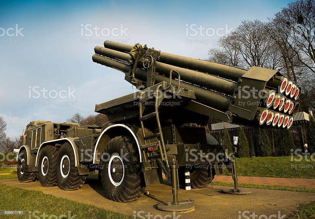 Multiple rocket launcher system  'Hurricane' stock photo