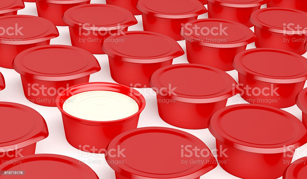 Multiple rows of plastic containers stock photo