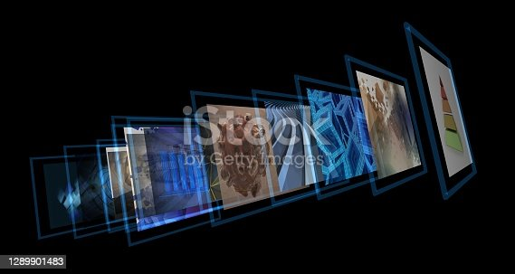 Various images displayed in a media projection line. Smart TV concept. Portfolio display or digital gallery exhibition idea. All included images are my works.