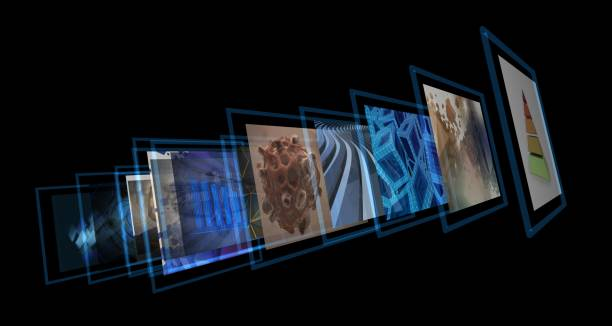 Multiple screens virtual media projection concept. stock photo