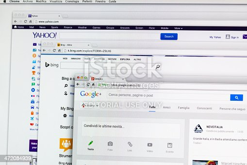 Milan, Italy - December 14, 2013: Yahoo, Bing and Google+ Search engine home pages on a lcd screen. The browser is Google Chrome over Apple OSX.