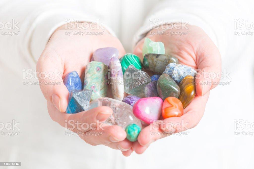 Multiple semi precious gemstones stock photo
