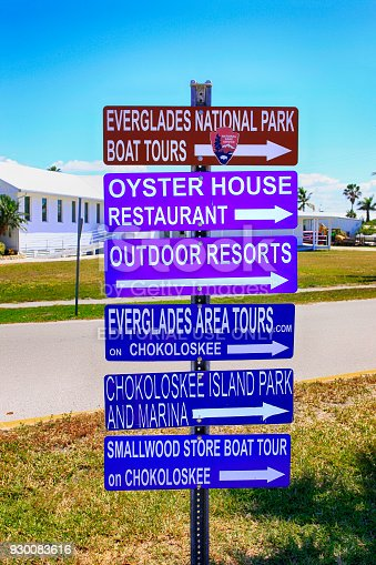 Multiple signs pointing to places in Everglades City and Chokoloskee Island in South Florida USA