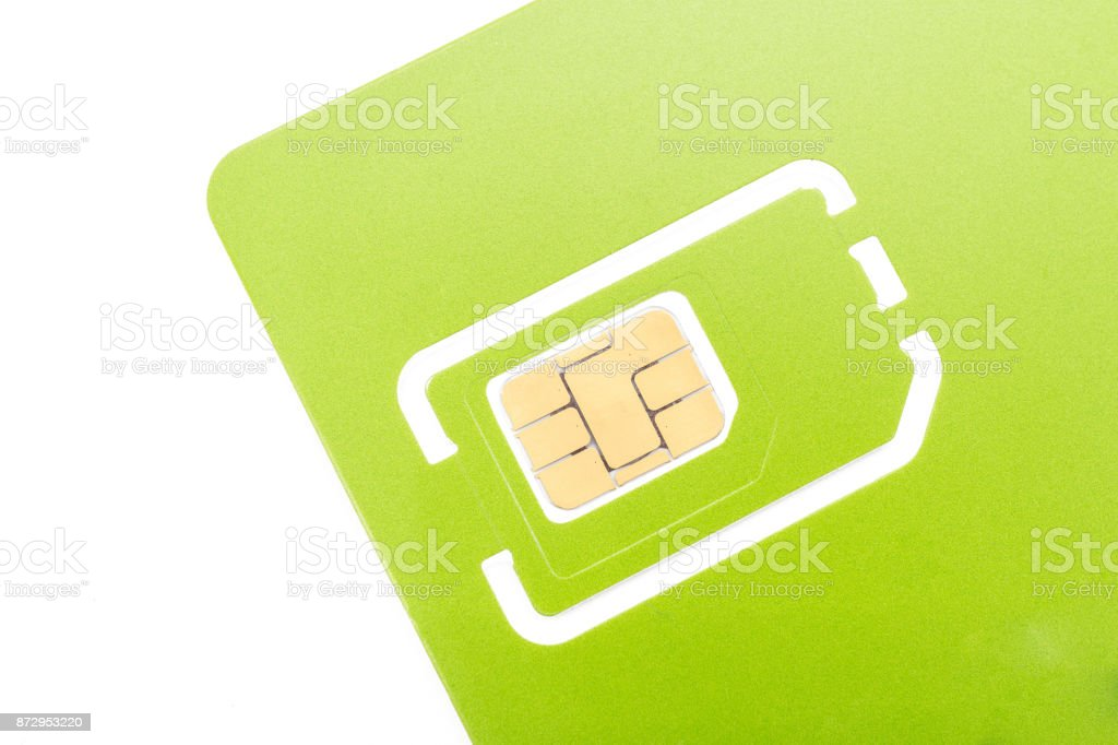 multiple size of green sim card in isolated. stock photo