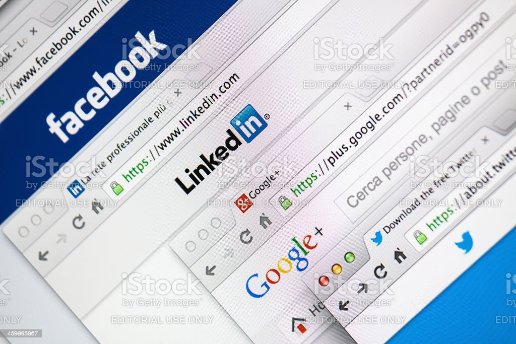 Multiple Social Network Welcome Web Pages stock photo