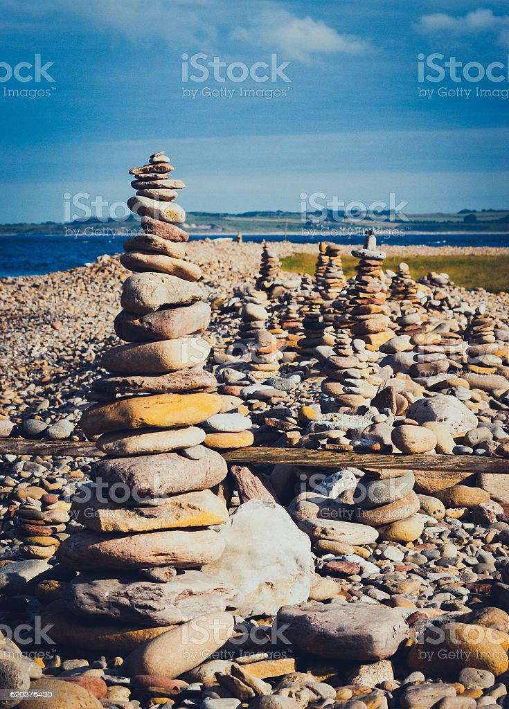 Multiple stone stacks foto de stock royalty-free