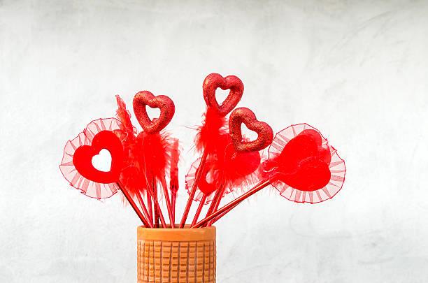 Multiple Valentine love symbol in vessel stock photo