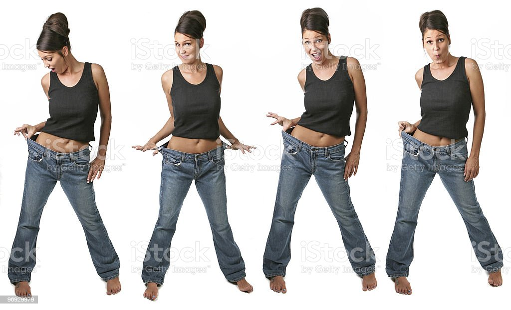 Multiple Views of a Dieting Woman royalty-free stock photo