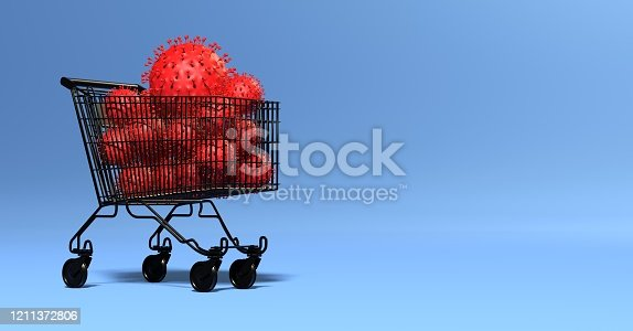 istock multiple viruses in a shopping cart - impact on the economy 1211372806