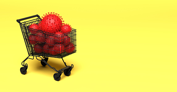 istock multiple viruses in a shopping cart - impact on the economy 1211373082