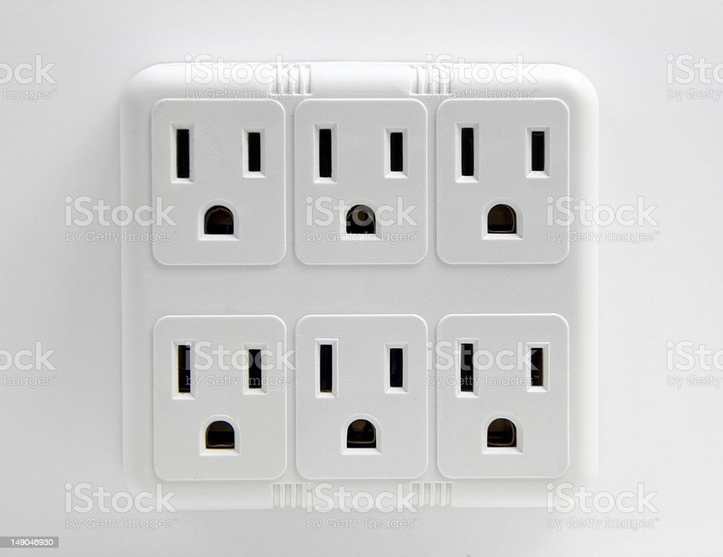 Multiple Wall Electrical Sockets stock photo