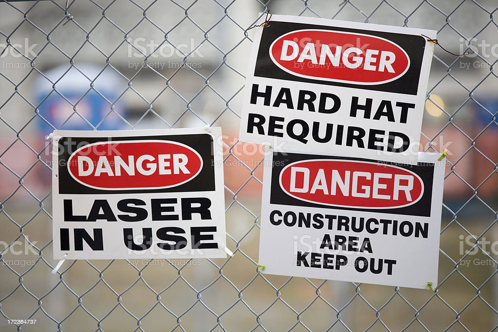multiple warning signs stock photo