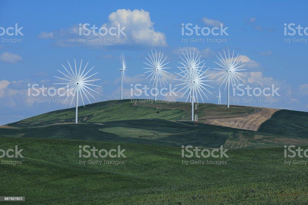 Multiple Wind Turbines in Palouse Washington Time lapsed for Fun stock photo