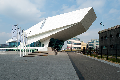 The entry to the multiplex and film museum EYE on the North Bank of the IJ waterway.