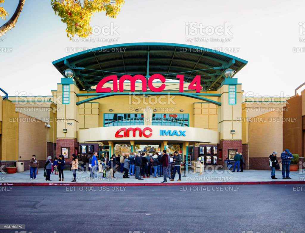 AMC multiplex movie theater entrance facade with sign stock photo