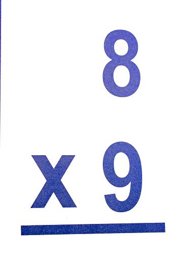 Multiplication math  flash card close-up