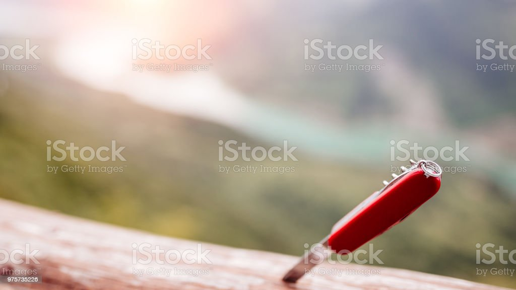 Multipurpose Knife is all you need in nature stock photo