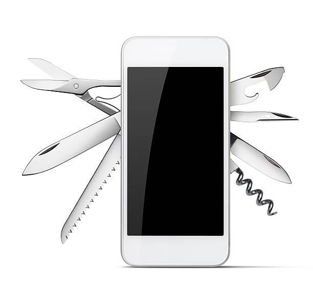 Multipurpose smart phone. Concept image. stock photo