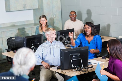 876965270 istock photo Multiracial adult students in class with instructor 530556181