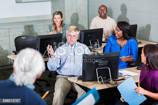 876965270 istock photo Multiracial adult students in class with instructor 536313757