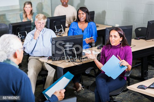 876965270 istock photo Multiracial adult students in class with instructor 537850501